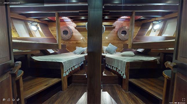 五つのキャビン(船室)には、ベッドと専用バスルームが備わっています。